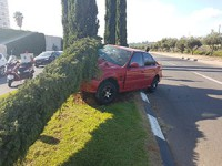 רכב עלה על אי תנועה ופגע בעץ ברחוב מנחם בגין